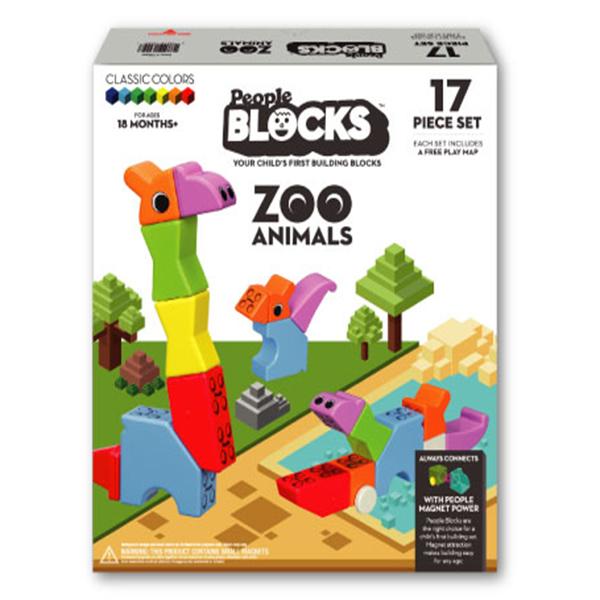 People Blocks Zoo Animal - 17 Set
